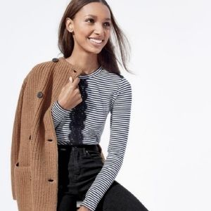 J. Crew Stripes and Lace Long Sleeve T-Shirt Large